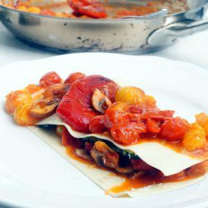 Lasagnetta con pomodorini e zucchini
