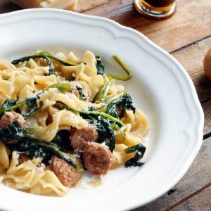 Pasta spinaci e salsiccia